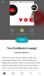 Hörbuch BookBeat App Abo Screenshot VOX Christina Dalcher Aragon Verlag